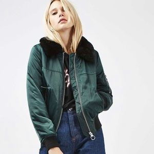 Topshop Jackets & Coats - Topshop Bomber Jacket with Faux Fur Collar